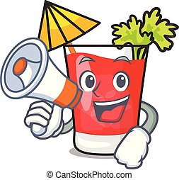 With megaphone bloody mary character cartoon vector...