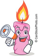 With megaphone candle character cartoon style vector...