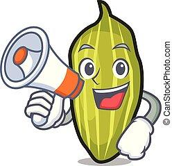 With megaphone cardamom character cartoon style