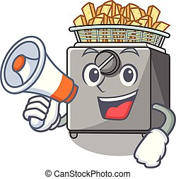 With megaphone cartoon deep fryer in the kitchen vector...