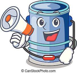 With megaphone cylinder bucket Cartoon of for liquid
