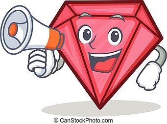 With megaphone diamond character cartoon style