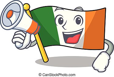 With megaphone flag ireland isolated with the cartoon vector...