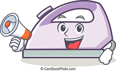 With megaphone flat iron character vector art