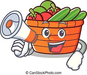 With megaphone fruit basket character cartoon