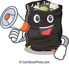 With megaphone grabage bag isolated with the mascot vector illustration