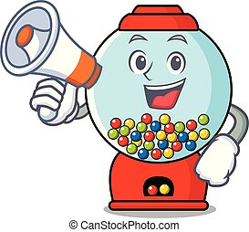 With megaphone gumball machine character cartoon