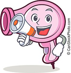 With megaphone hair dryer character vector
