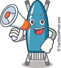 With megaphone iron board character cartoon vector illustration