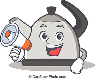 With megaphone kettle character cartoon style vector...