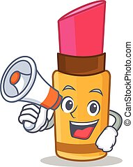 With megaphone lipstick character cartoon style