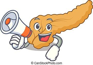 With megaphone pancreas character cartoon style