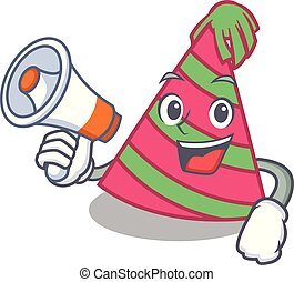 With megaphone party hat character cartoon vector ...