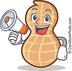 With megaphone peanut character cartoon style