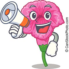 With megaphone petunia flowers on cartoon home page vector illustration