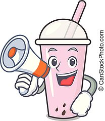 With megaphone raspberry bubble tea character cartoon