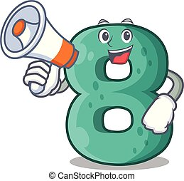 With megaphone raster version cartoon shaped Number Eight