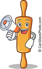 With megaphone rolling pin character cartoon