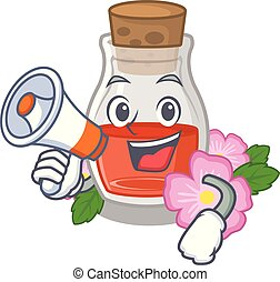 With megaphone rosehip seed oil in cartoon bottle vector ...