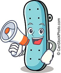 With megaphone skateboard character cartoon style