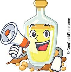 With megaphone soybean oil put in cartoon bottle