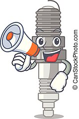 With megaphone spark plug in the character shape