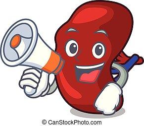 With megaphone spleen character cartoon style