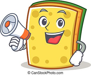 With megaphone sponge cartoon character funny