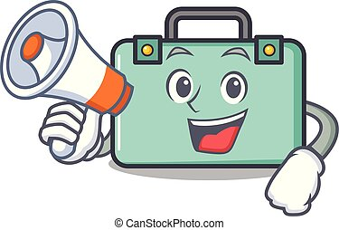 With megaphone suitcase character cartoon style