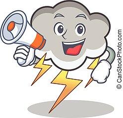 With megaphone thunder cloud character cartoon