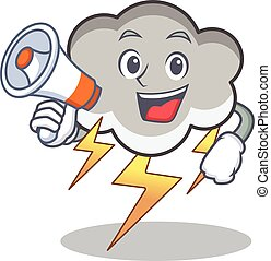 With megaphone thunder cloud character cartoon