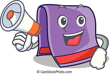 With megaphone towel character cartoon style vector...