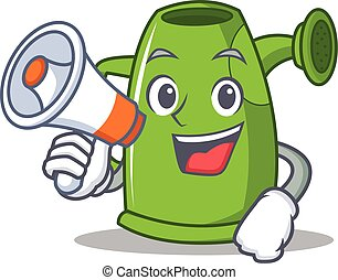 With megaphone watering can character cartoon