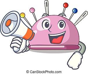 With megaphone wicker basket on a pincushion cartoon vector...