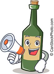 With megaphone wine bottle character cartoon
