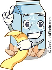 With menu almond milk in the cartoon bottle