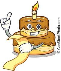 With menu birthday cake mascot cartoon