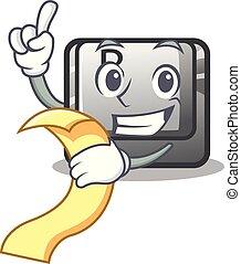 With menu button B on a mascot keyboard