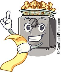 With menu cooking french fries in deep fryer cartoon vector...