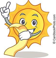 With menu cute sun character cartoon