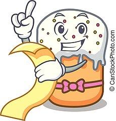 With menu easter cake mascot cartoon