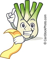 With menu fennel mascot cartoon style vector illustration