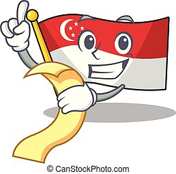 With menu flag singapore isolated with the character vector illustration