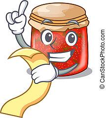 With menu fresh tasty strawberry jam on mascot vector...