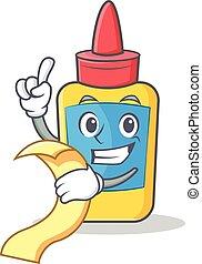 With menu glue bottle character cartoon