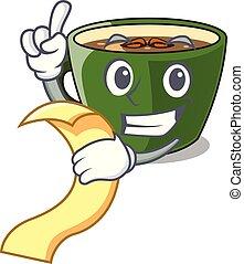 With menu Indian masala tea in cartoon cup