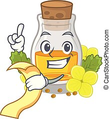 With menu mustard oil wrapped in mascot box vector ...