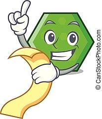 With menu octagon mascot cartoon style vector illustration