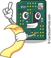 With menu PCB circuit board in PC characters vector...