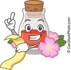 With menu rose seed oil the cartoon shape